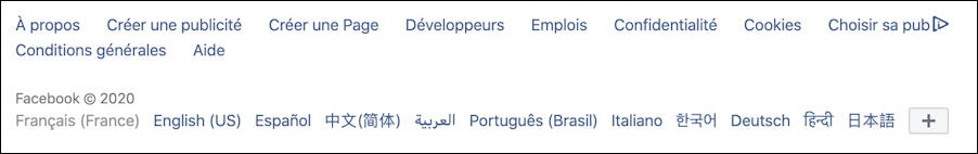 facebook - language options line - bottom of page - french