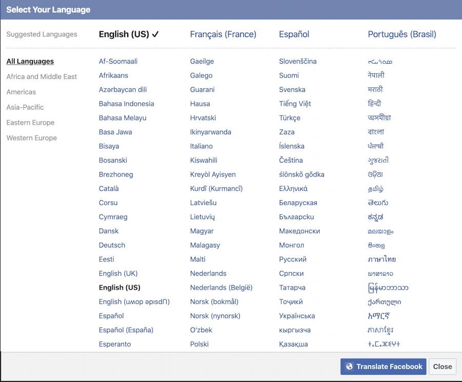 all languages available facebook translations user