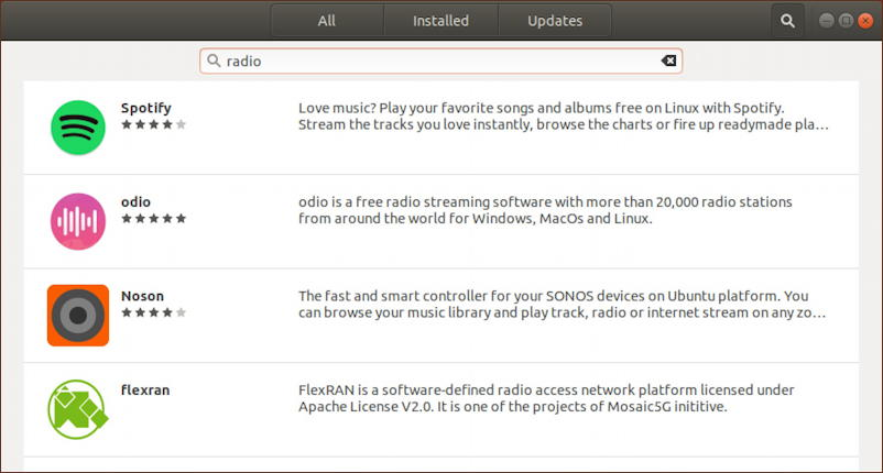 ubuntu linux software app - search 'radio'