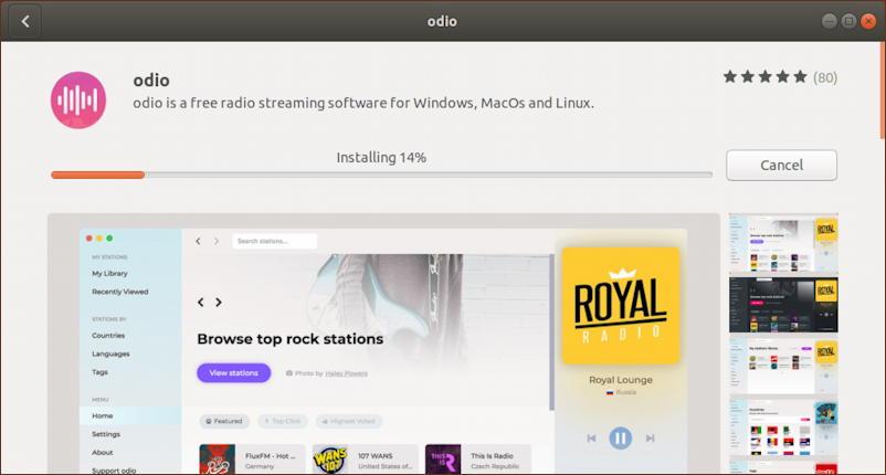 ubuntu linux - odio streaming radio - installing