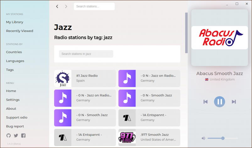 ubuntu linux - odio streaming radio - listening to jazz