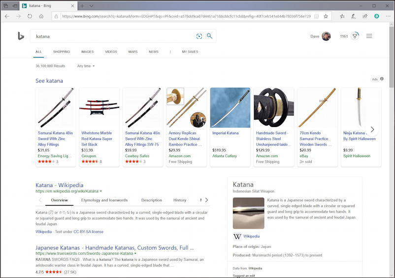bing search results - katana