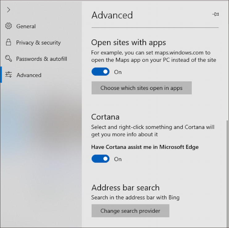 win10 microsoft edge default search engine - advanced settings