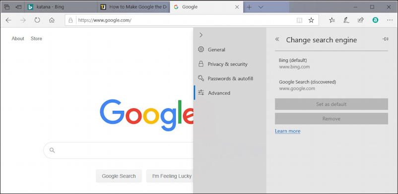 win10 microsoft edge default search engine - google search engine