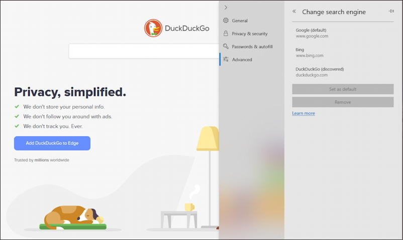 win10 microsoft edge default search engine - duckduckgo