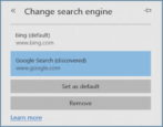microsoft edge win10 change set replace default search engine