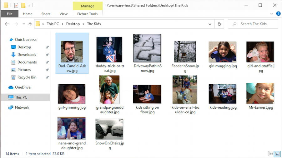 win10 windows file manager - viewing photographs icons thumbnails