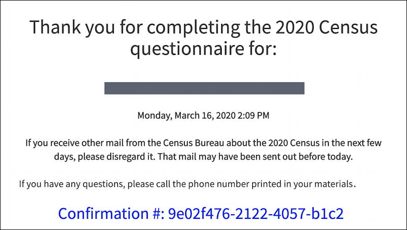 2020 us census - completed questionnaire receipt