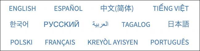 us census 2020 web site - languages english spanish