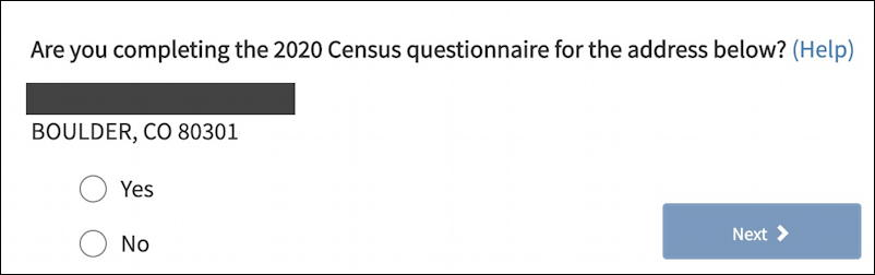 2020 us census questionnaire - address confirmation