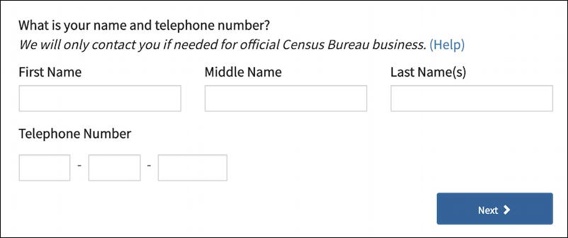 2020 us census questionnaire - name and telephone number