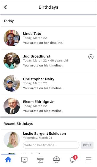 facebook mobile - birthdays