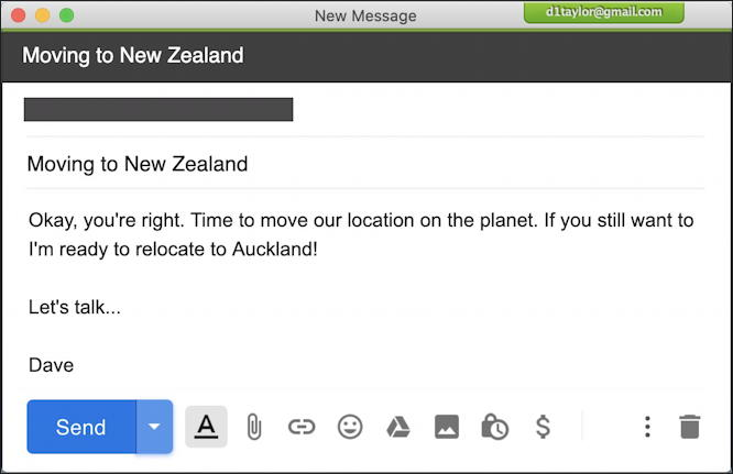 gmail email message - lets move to new zealand