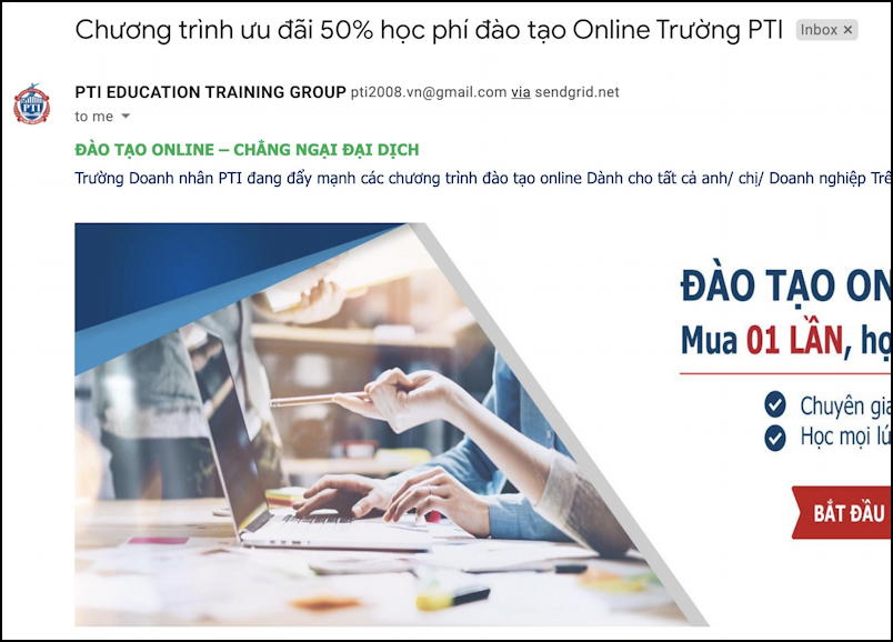 email spam message - vietnamese