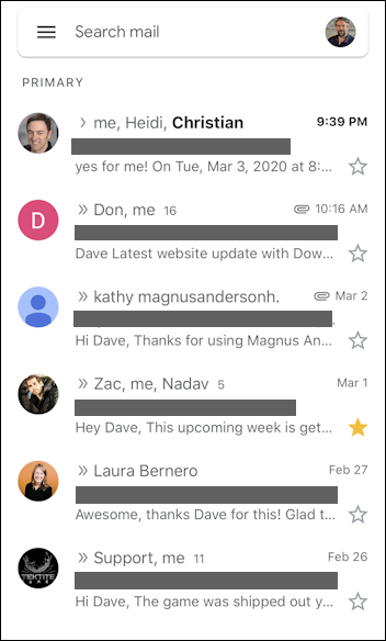 gmail on iphone redacted