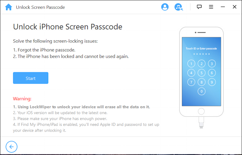 lockwiper iphone unlock app help utility - main screen