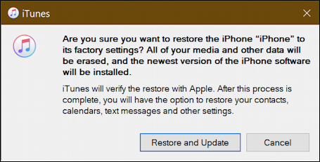 itunes windows 10 - ready to restore iphone