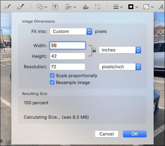 preview mac - default resize image dimensions