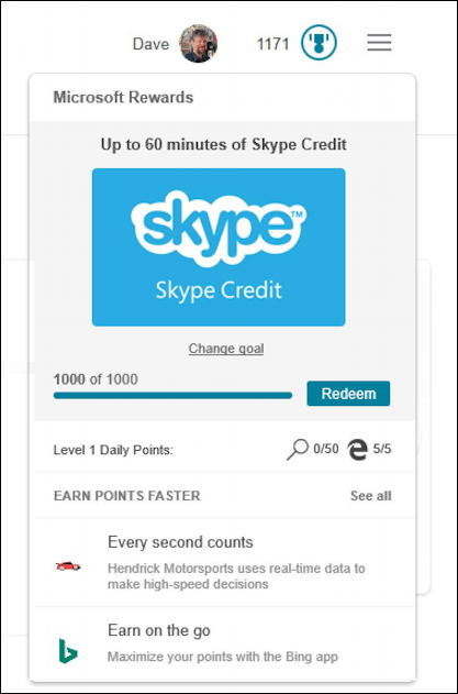 my microsoft rewards status - earning skype points