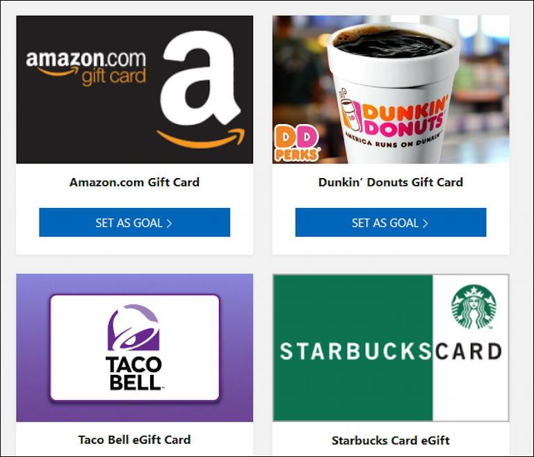 microsoft rewards - amazon starbucks taco bell dunkin donuts