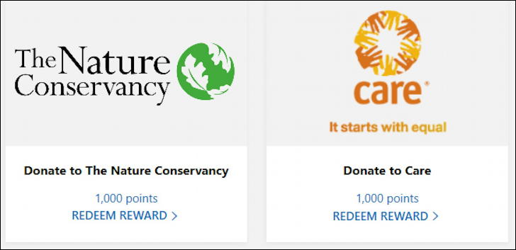 microsoft rewards - donate to charity