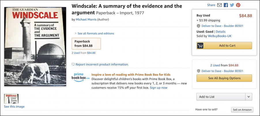windscale book on amazon - used pricing out of print