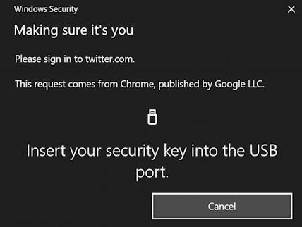 twitter - log in using fido security key
