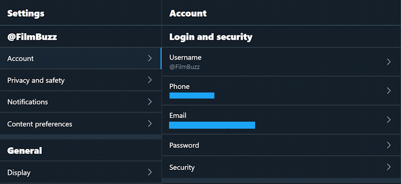twitter account settings and security