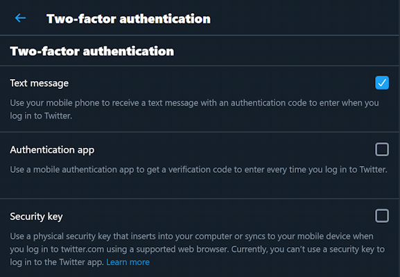 twitter account security settings 2fa two factor phone sms security key