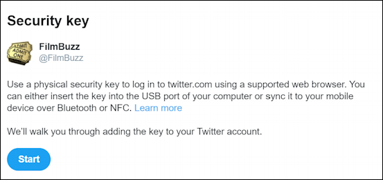 Twitter use security key secure login account