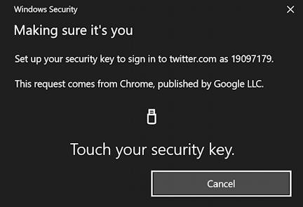 touch security key - fido u2f login