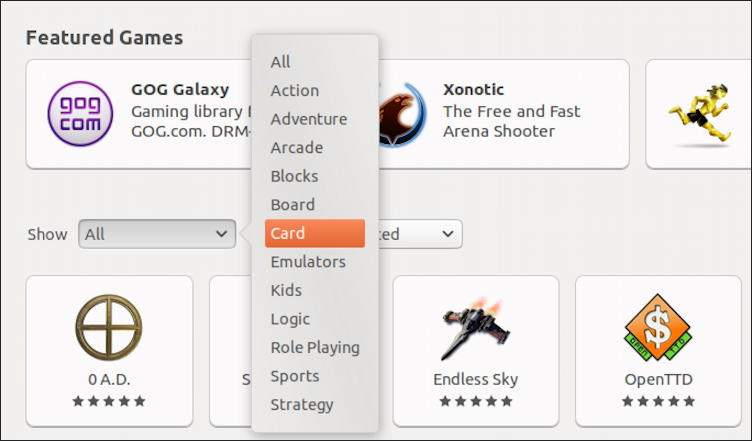 ubuntu linux games search card