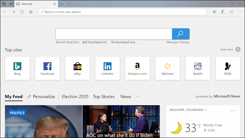 microsoft edge windows 10 win10 default home page view