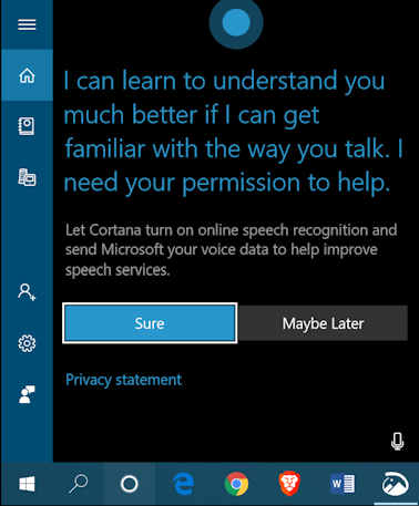 win10 remove cortana taskbar - cortana setup window configuration