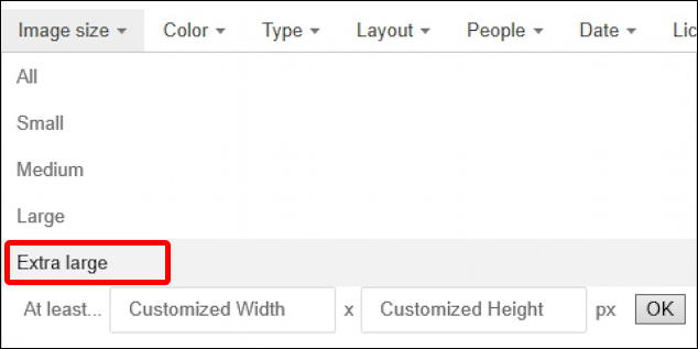 bing image search - constrain by size