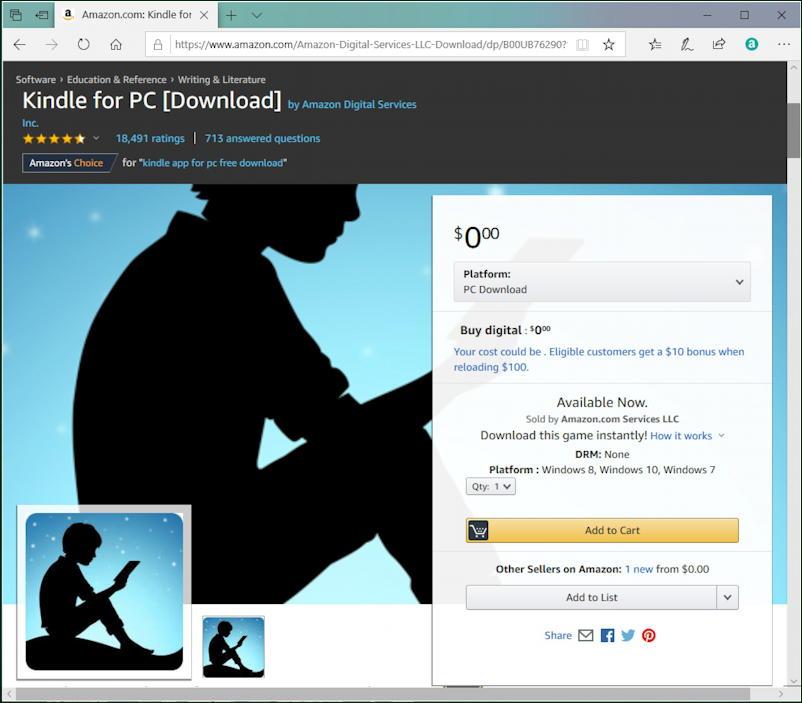 kindle reader for windows amazon listing