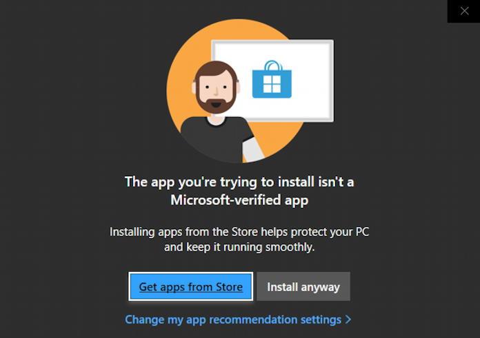 windows 10 - run app not from microsoft store?