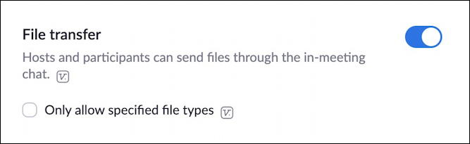 zoom avoid zoombombing - file transfer