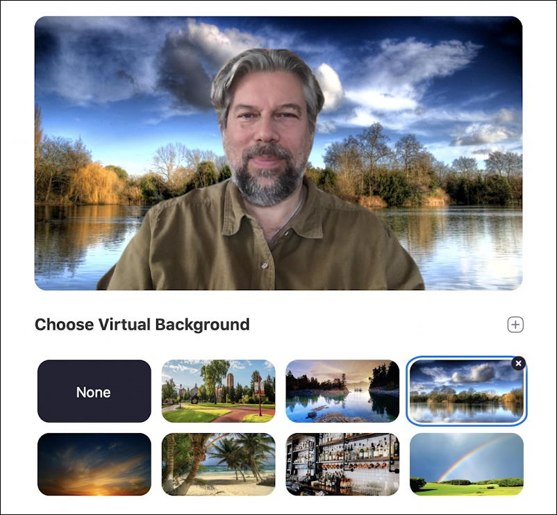 zoom virtual background - cloudy HDR lake