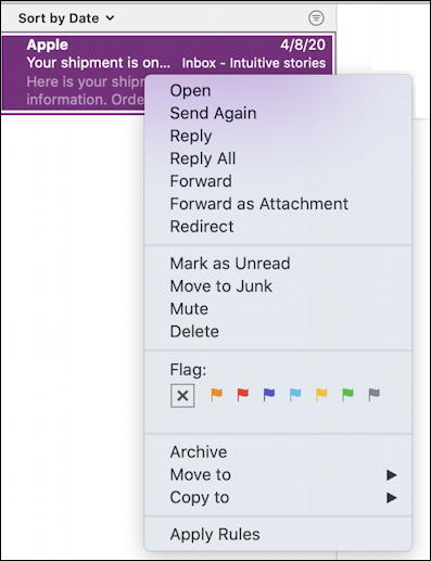 mac apple mail - viewing message email - menu