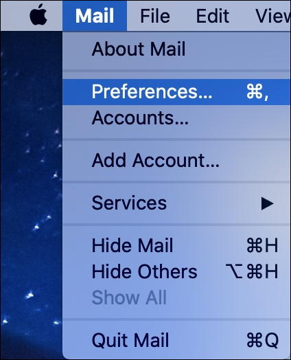 mac apple mail - preferences