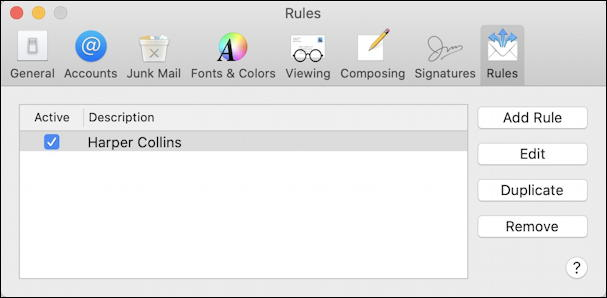 mac apple mail - rules preferences settings