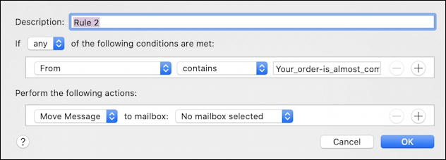 mac apple mail - create new mail filtering email rule