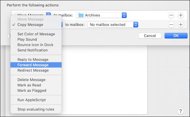 mac apple mail - what to consider conditional test rules filter