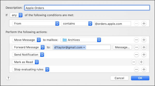 mac apple mail - complex email filtering rule