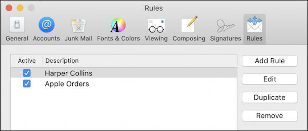 mac apple mail - two rules