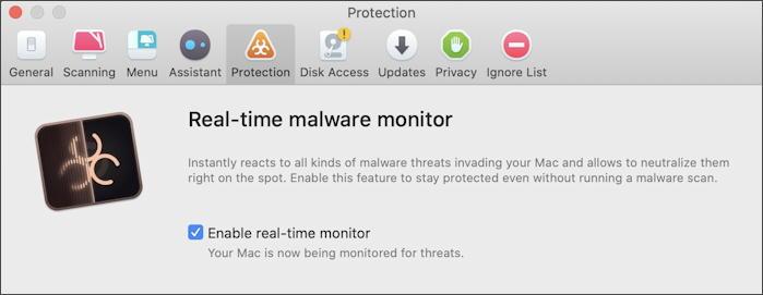 CleanMyMac X - run real-time malware protection scan antivirus mac macos x