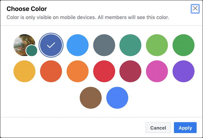 create new facebook group - possible group color scheme theme pick choose select