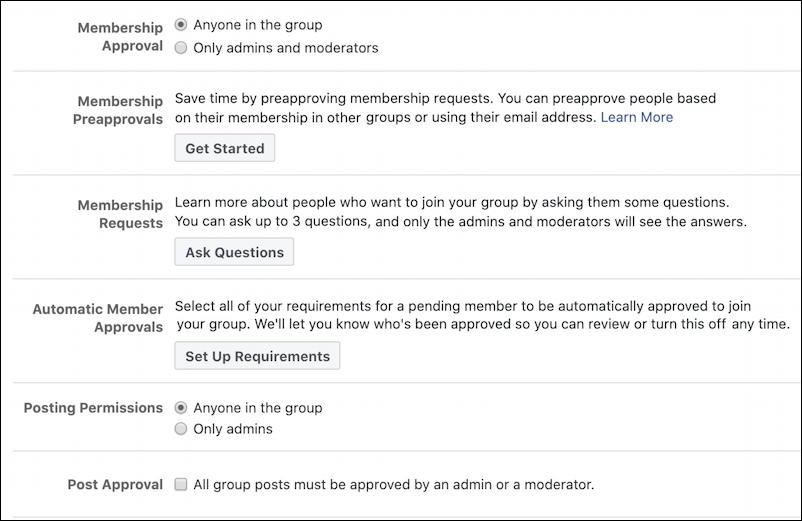 facebook new group settings - approve members manage