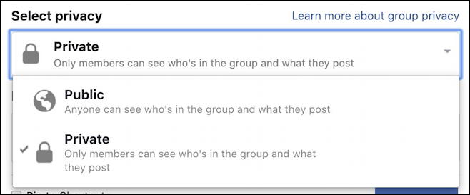 create facebook group - privacy settings